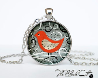 Colorful bird pendant Colorful bird necklace Colorful bird jewelry