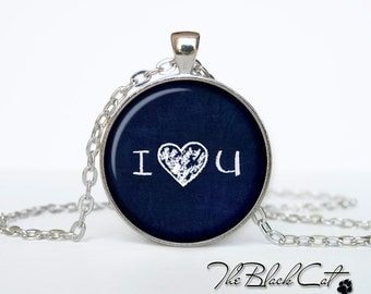 Love heart necklace Love heart pendant Gift Ideas  For Couples For Her Him I Love you jewelry