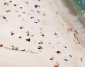 "Portugal beach (Nazaré),A4 (8,2""x 11,7"")  pigeon.(21 x 29,7cm) Europe.Summer. People on the beach. Blue. Yelow. Art, home decor. Housewares"