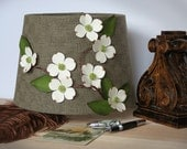 "Small Handmade Floral Lamp Shade ""White Flowering Dogwood"" - Country Cottage Chic Springtime - Woodland Home Decor Table Lamp - AussieSense"
