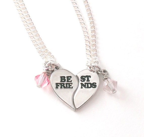 Best Friends Charm Necklace Set, Swarovski Crystal Necklace, Split Heart Charm, Best Friends Necklace, Adjustable Necklace, BFF Necklace