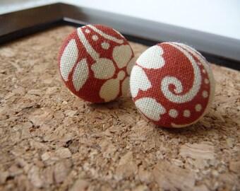 "Fabric Button Earrings, Red Swirl Fabric Covered Post Earrings, 3/4"", Womens Earrings"