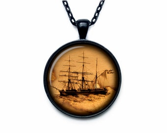 Ancient ship pendant Old sailboat necklace Vintage ship jewelry (POS00007)