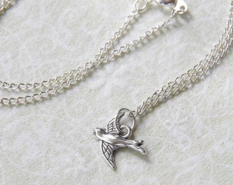 Fly Away Bird Necklace: Sweet Silver-plated Handmade Bird Charm Necklace
