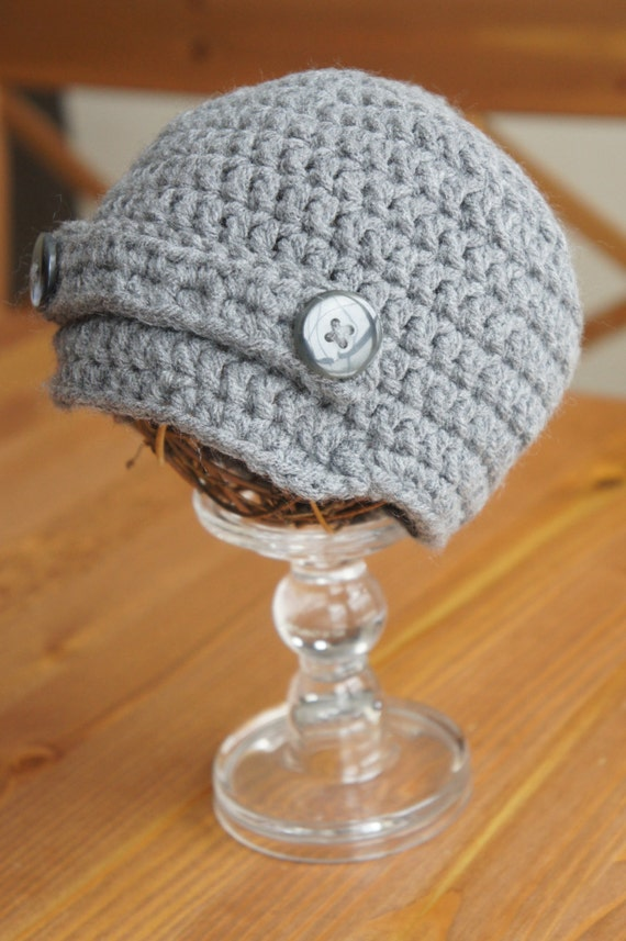 Gray Crochet Newsboy Hat