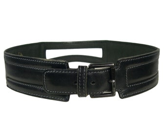 Vintage Alaia Black Leather Belt - 1980s