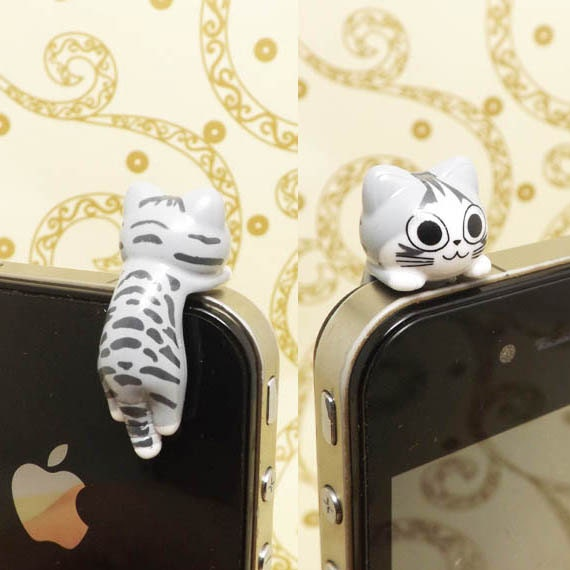 40%OFF Adorable Hanging Grey Sweet Cat Kitten Kitty Dust Plug 3.5mm Phone Charm Headphone Jack Earphone Cap iPhone 4 4S 5 6 iPad HTC Samsung