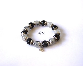 Natural Black Tourmalated Quartz 12mm Beads Stretch Bracelet with Sterling Silver Charm  and Karen Hill Tribe Silver, ref:102412