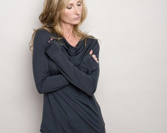 Womens Cowl Neck Long Sleeve Natural Merino Wool T-Shirt Top - Gray - by Vielet Performance Merino
