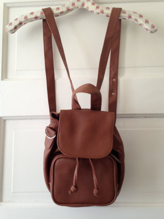 Brown Faux Leather Backpack Brown Vegan Faux Leather