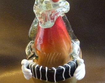Tall Vintage Murano Art Glass Handmade CLOWN FIGURINE with Accordian