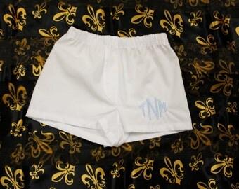 Monogrammed Baby Boxer Shorts/Diaper Cover with Fleur de Lis design