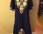 Vintage Shoje Casual Gown, Blue, Green and Pink Embroidered flowered dress Large/XL