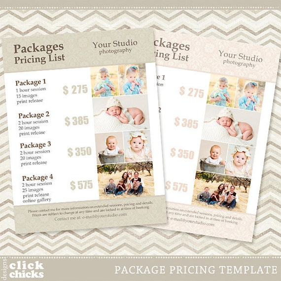 Pricing List Template - Photography Pricing Guide - Price List - Price ...