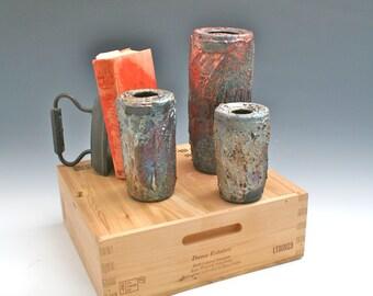 Hanging Ceramic Raku Vase Set, Ceramic Raku Pottery Set, Wall Hanging Vase Set of Three