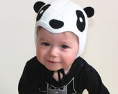 Spring baby hat panda hat baby pilot hat knit black and white hat Size 12-15 Months Made to order