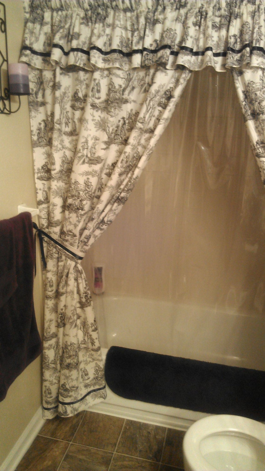 Made to Order Custom Shower Curtain with Valance and by Pixylissa