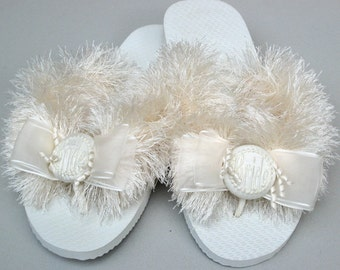 BRIDAL WEDDING SHOES, Flip Flops, Ivory or White, For the Beach & Outdoors, Bridesmaids, Personalize, Soft, Super Comfy, Flats or Wedge