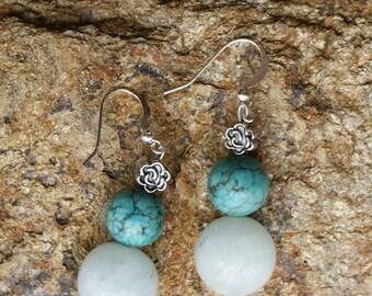 Aquamarine, Magnesite and Silver Earrings