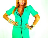 Vintage Green Wiggle Dress with Bows