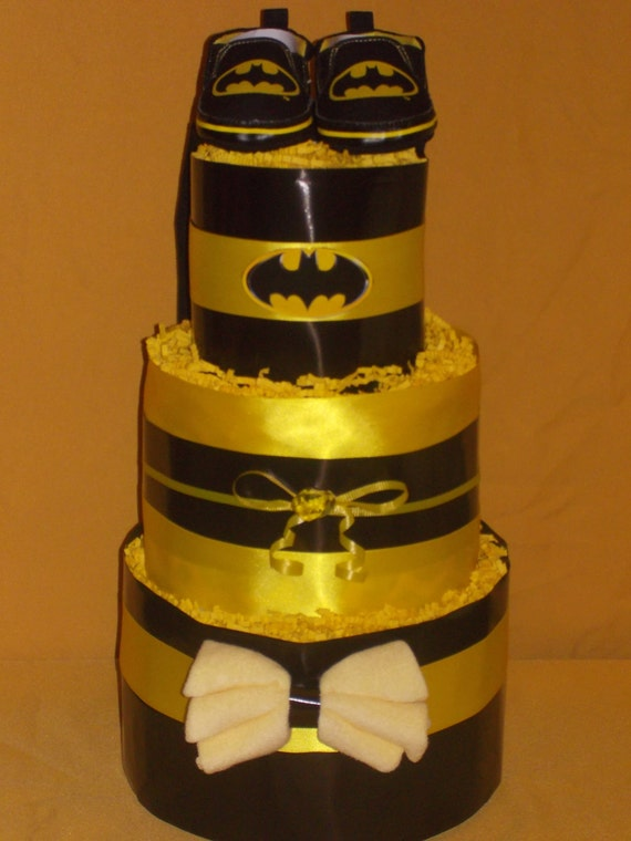 to batman baby boy diaper cake 40 diapers bodysuit shoes baby