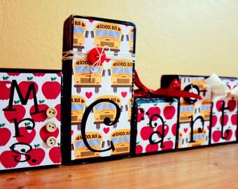 Teacher Appreciation Gift- End of Year Teacher Gift -Personalized Teacher Sign- Teacher Blocks- Custom Teacher Gift for Teacher Name Sign