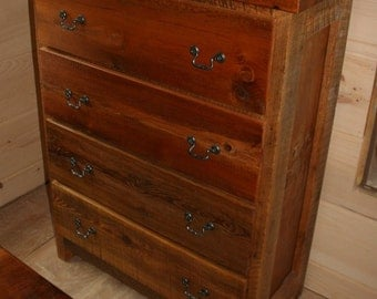 Barnwood Dresser Four Drawer - Reclaimed Wood Dresser - Barnwood Chest