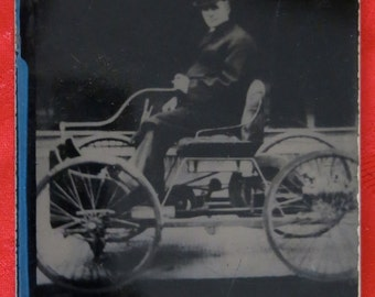 1930's Henry Ford & His Quadricycle Automobile Tintype Photograph - Free Shipping