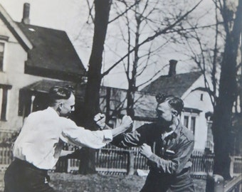 Vintage 1900's Hatfield's And McCoys Fighting Neighbors Real Photo Postcard - Free Shipping