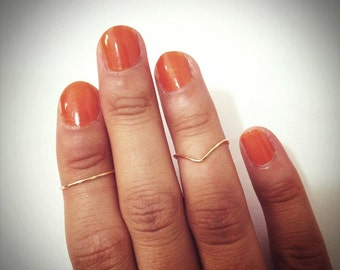 2 knuckle rings: 1 mid ring & 1 chevron ring. Gold Knuckle Ring, Silver Knuckle Ring,  stacking rings, dainty ring, thin ring