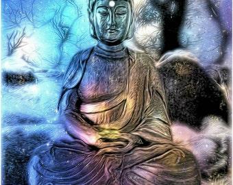 Buddha in Ethereal Landscape Wall Decor, Dreamy Spiritual Buddhist Photography Art Print, Blue Pastels Mystical Buddha, Meditation Art Print