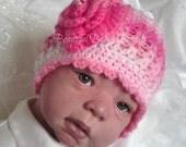 CROCHET PATTERN for Baby Girls Rose Beanie Hat in PDF Immediate Download - No:38