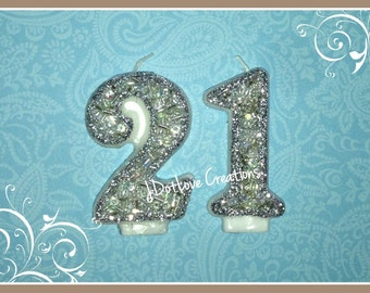 21st Birthday Candle - Sparkly Silver - 21