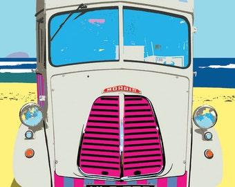 A contemporary print of an ice cream van on the beach