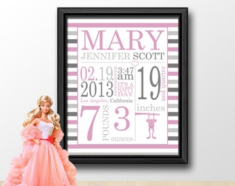 personalized girl birth announcement, birth annoucements, nursery subway, modern baby stats art, new baby gift, birth detail, baby name art