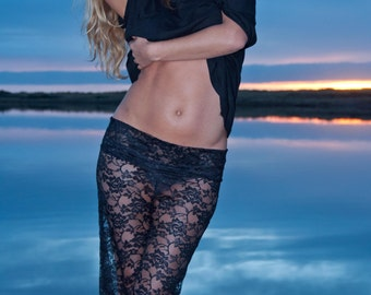 BLACK STRETCH LACE  wide leg festival summer dance fashion beach yoga lounge palazzo pants with shorts liner optional