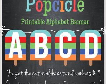 Popcicle Printable Alphabet Banner - Instant Download