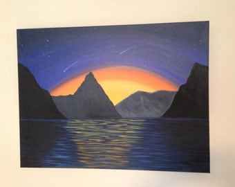 Shooting star, mountain scene.18x24x1.5 canvas,canvas art,landscape,mountain painting,sunset painting,landscape,stars,night painting