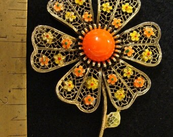 ART 1960s yellow and orange flower brooch