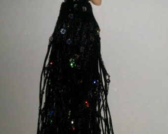 porcelain tassel flat half doll with 6 inch sequin black fringe gift under 50