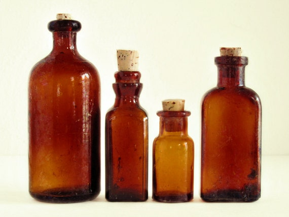 Small Vintage Specimen Bottles.  Antique amber glass apothecary bottles.