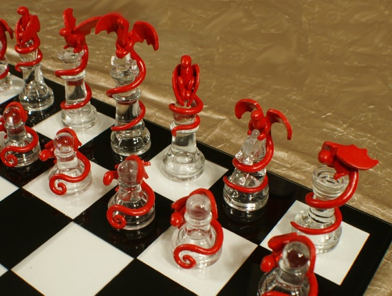 Items Similar To Epic Dragon Chess Set Glass Board