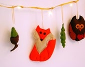 felt fox woodland garland