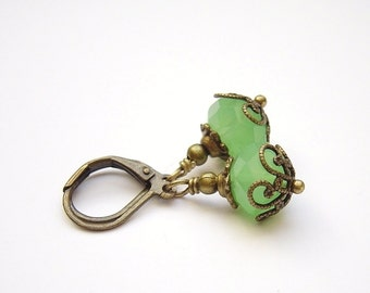 Milky Green Dangle Earrings Vintage Inspired