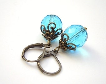 Aqua Beaded Earrings Victorian Style Bridal Jewelry Bronze Filigree
