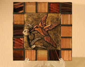Hummingbird/ Ceramic Tile/ Handmade Decorative tile/Home decor