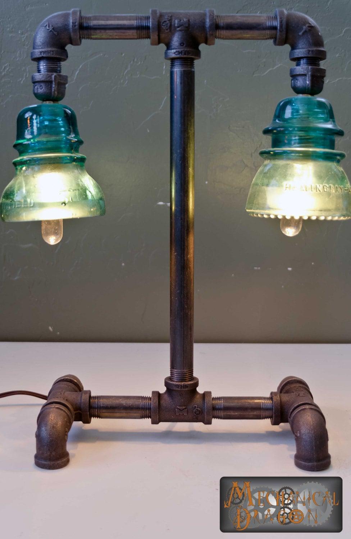steampunk industrial style desk lamp teller. Black Bedroom Furniture Sets. Home Design Ideas