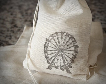 Ferris Wheel muslin cotton 6 favor bag with stamp gift sack party wedding carnival