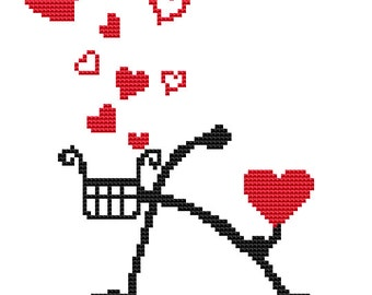 Counted Cross Stitch Pattern PDF Love Bike