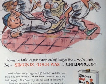 Vintage 1959 Simoniz Floor Wax Ad, Paper Ephemera take from a McCall's Magazine.